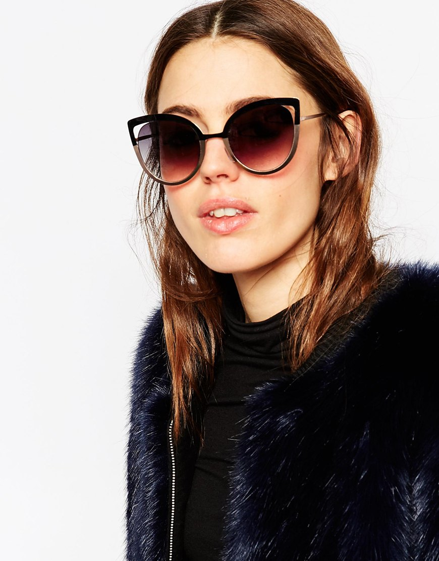 accf5f0426 Lyst - ASOS Metal Cat Eye Sunglasses With Colour Block Frame And Cut Away  Lens in Black