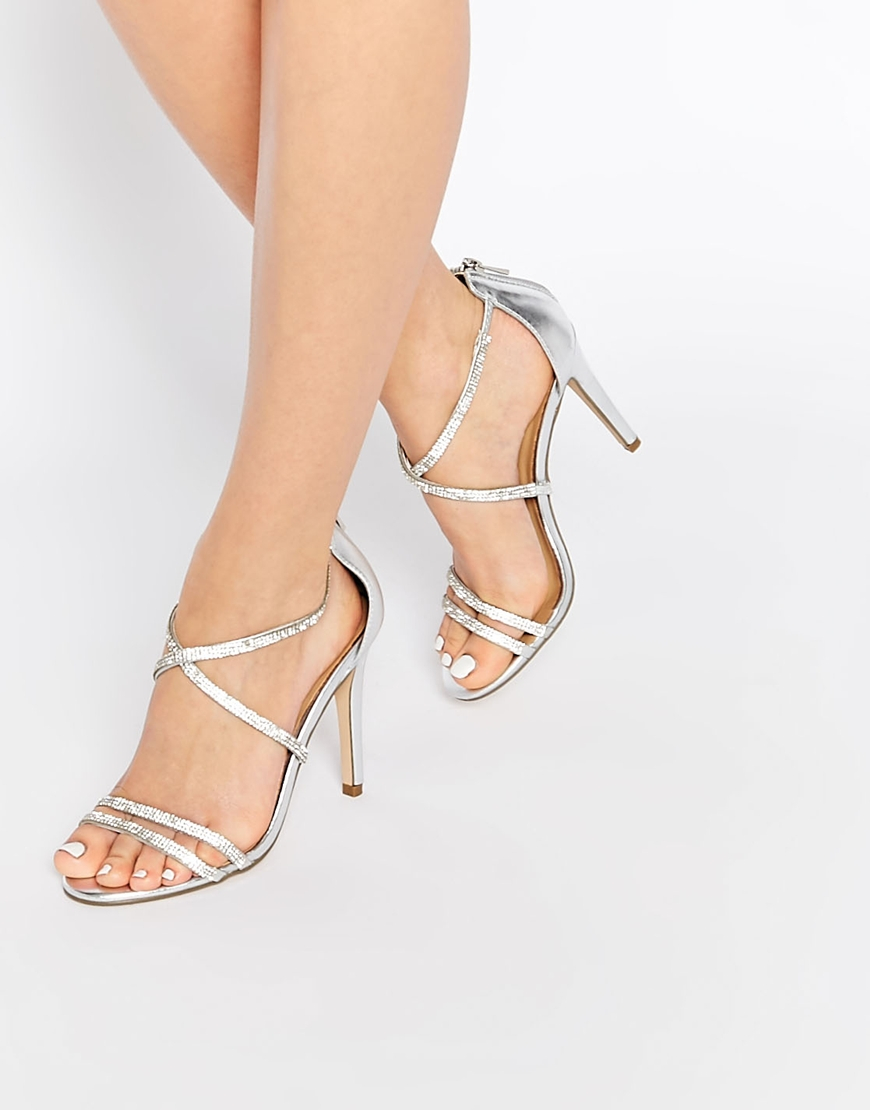 ad238d5e4ee Lyst - ALDO Arenani Silver Cross Front Heeled Sandals in Metallic