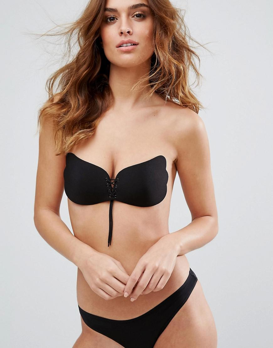 d1098e9c37 Asos lace up cleavage boost backless stick on bra in black lyst jpg  870x1110 Bra top