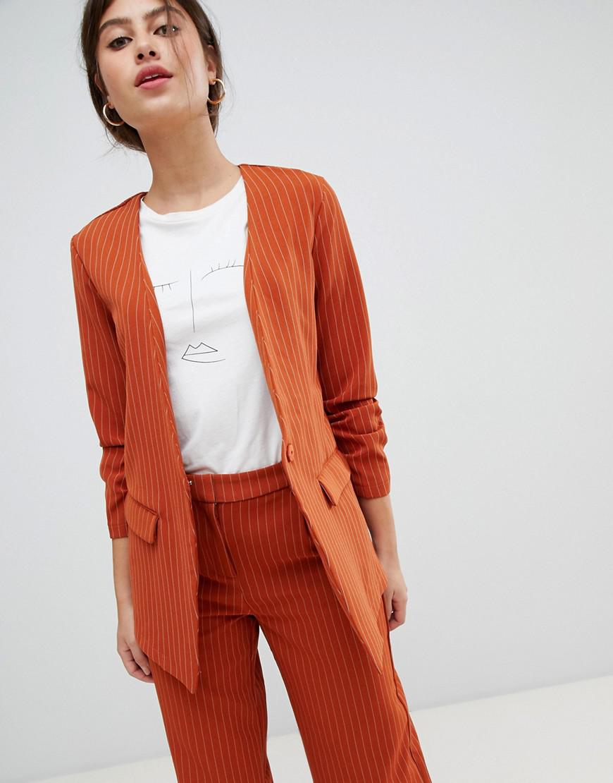 4400f18563 Lyst - Vila Pin Stripe Ruche Sleeve Tailored Jacket in Orange