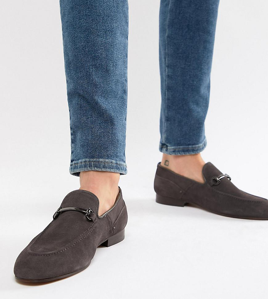 b3c829df1ed H by Hudson Wide Fit Banchory Bar Loafers In Grey Suede in Gray for ...