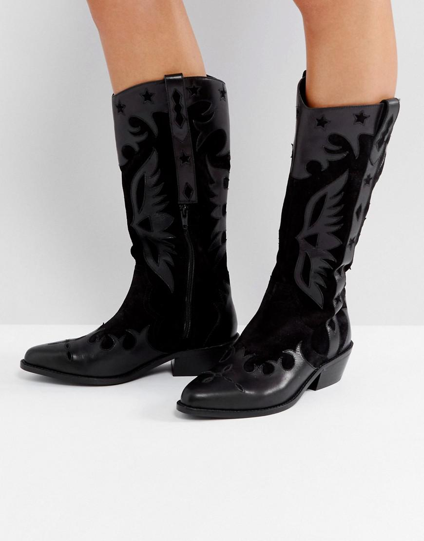 ASOS CACTUS Leather Western Knee High Boots TK08N