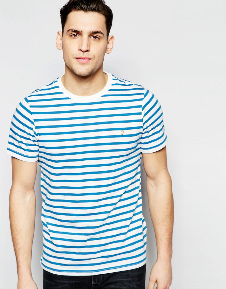 farah t shirt with breton stripe slim fit in blue for men. Black Bedroom Furniture Sets. Home Design Ideas