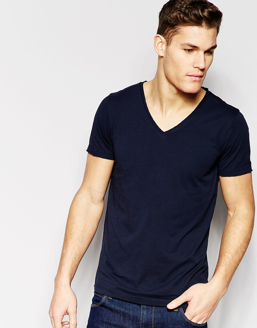 Boss orange t shirt with v neck regular fit in navy in for Men s regular fit shirts