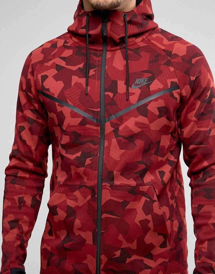 lyst nike tech fleece camo hoodie in red 835866 674. Black Bedroom Furniture Sets. Home Design Ideas