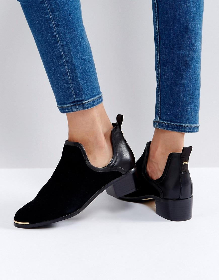 634b5dec91a6 Ted Baker Twillo Cut Out Black Suede Flat Ankle Boots in Black - Lyst
