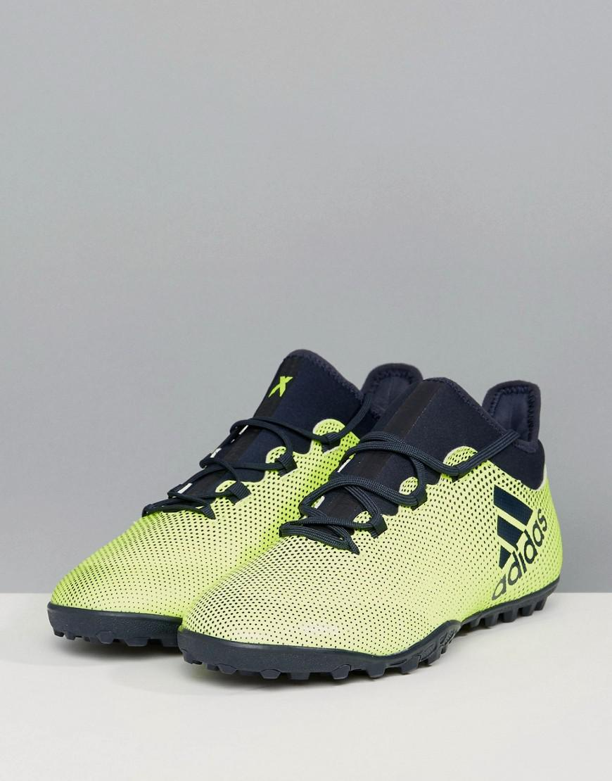 low priced 78db0 552a6 Lyst - adidas Football X 17.3 Astro Turf Trainers In Yellow Cg3727 ...