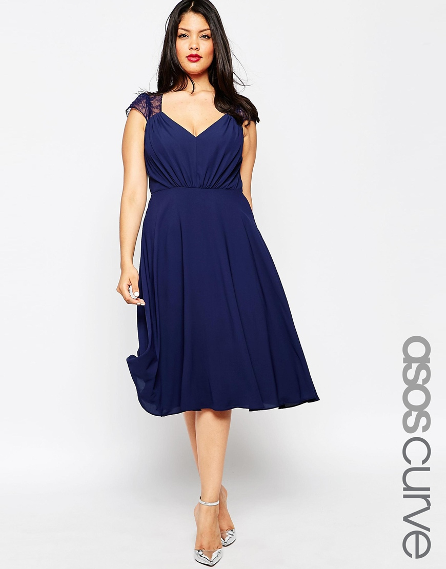Asos Kate Lace Midi Dress in Blue | Lyst