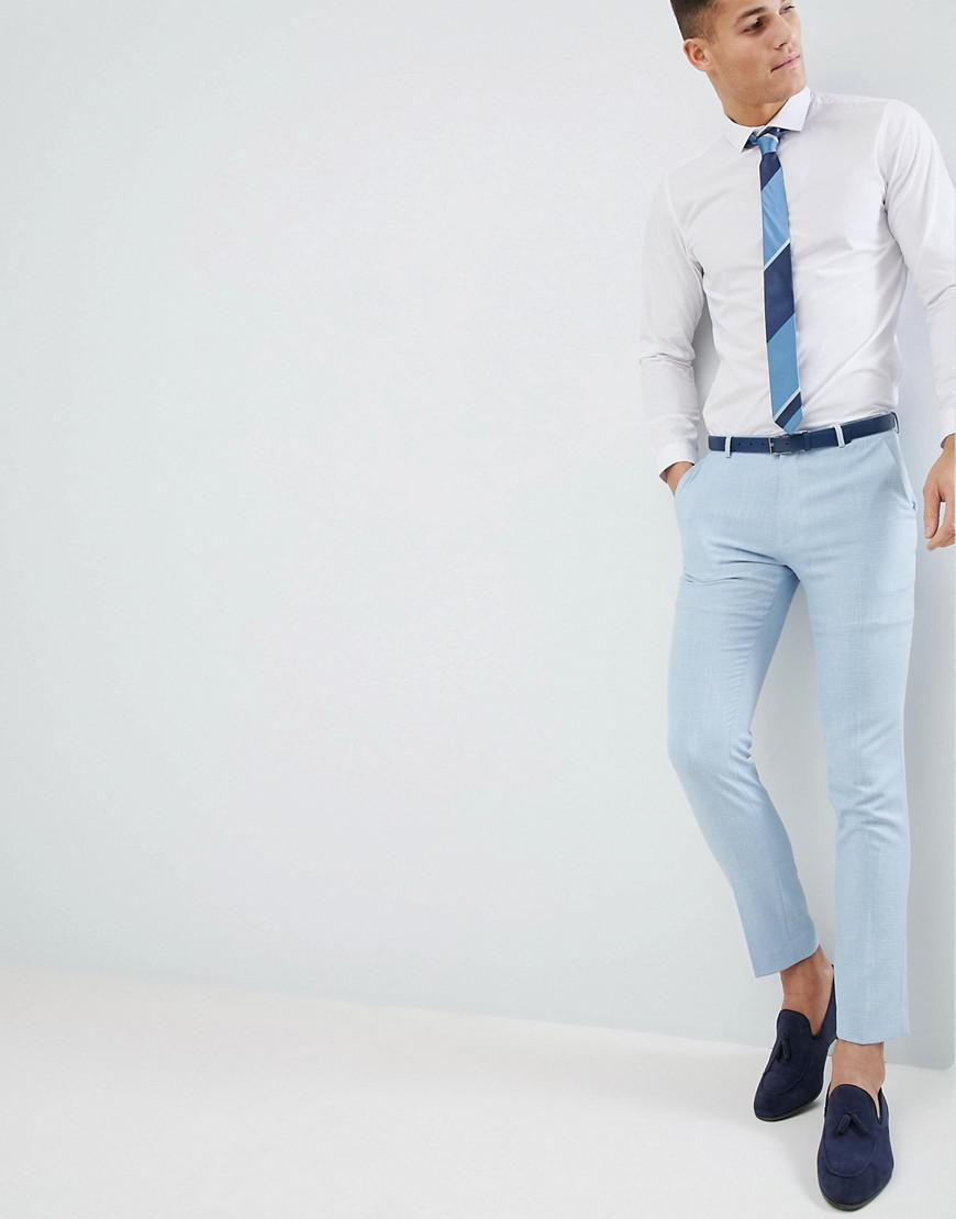 DESIGN Wedding Skinny Suit Trousers In Provence Blue Cross Hatch - Blue Asos kopzn