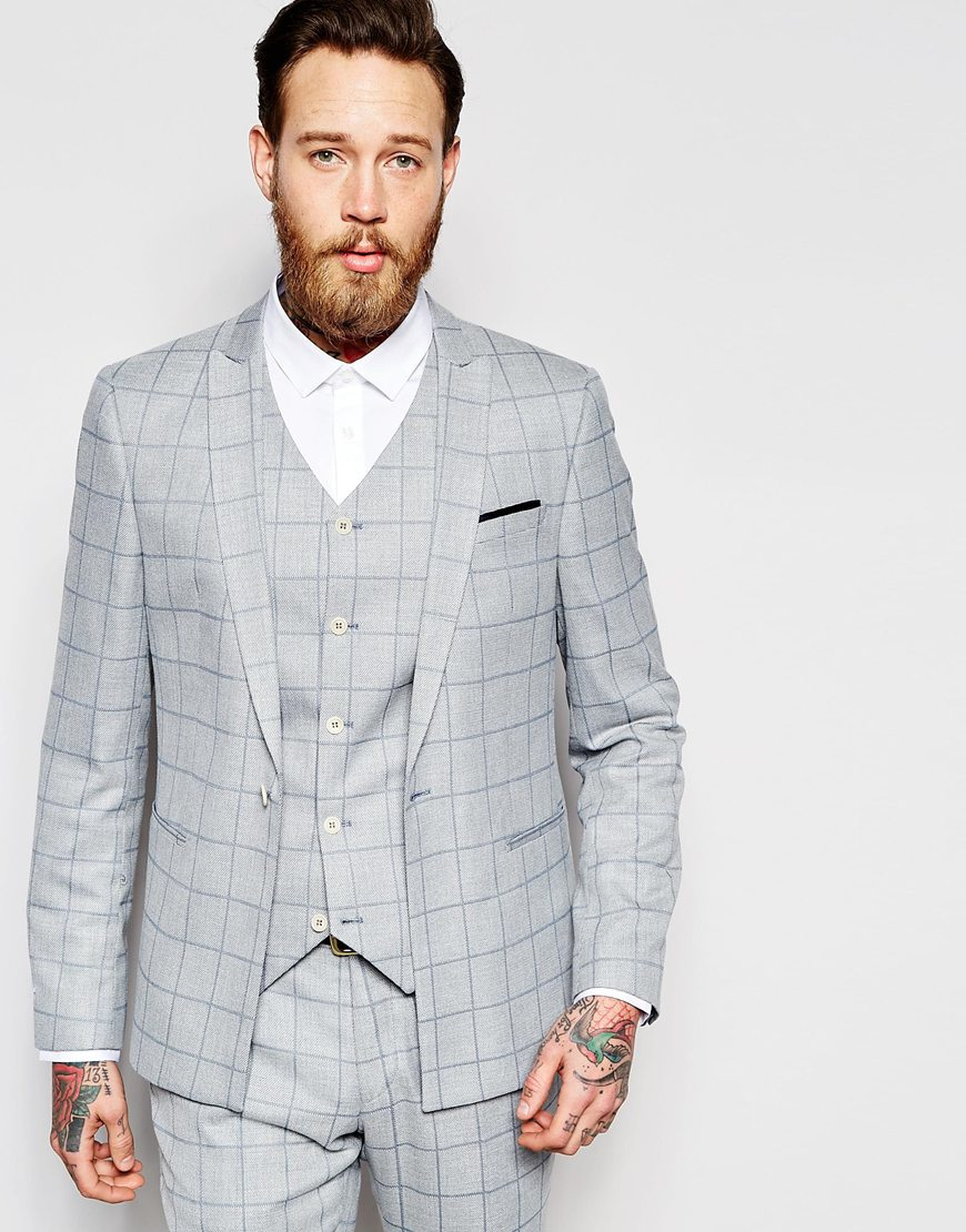 Asos Skinny Suit Jacket In Light Blue Check in Blue for Men | Lyst