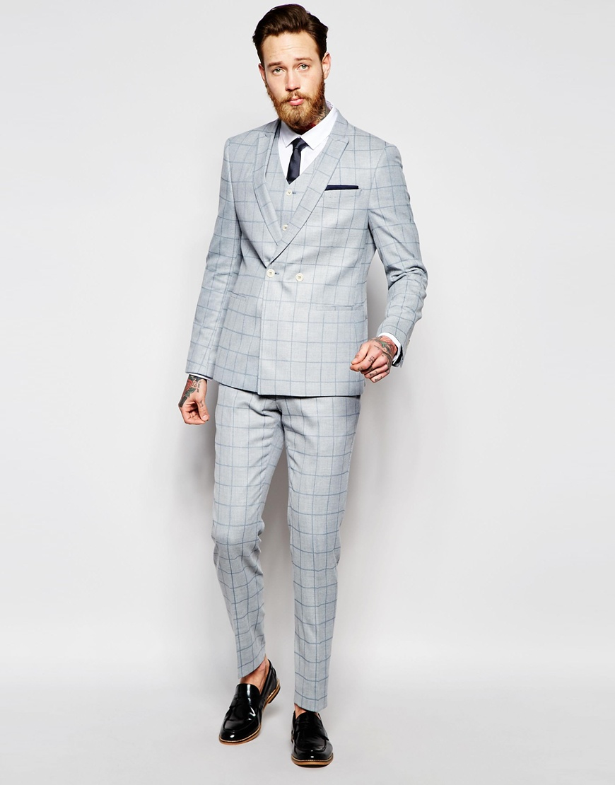 Asos Skinny Double Breasted Suit Jacket In Light Blue Check in ...