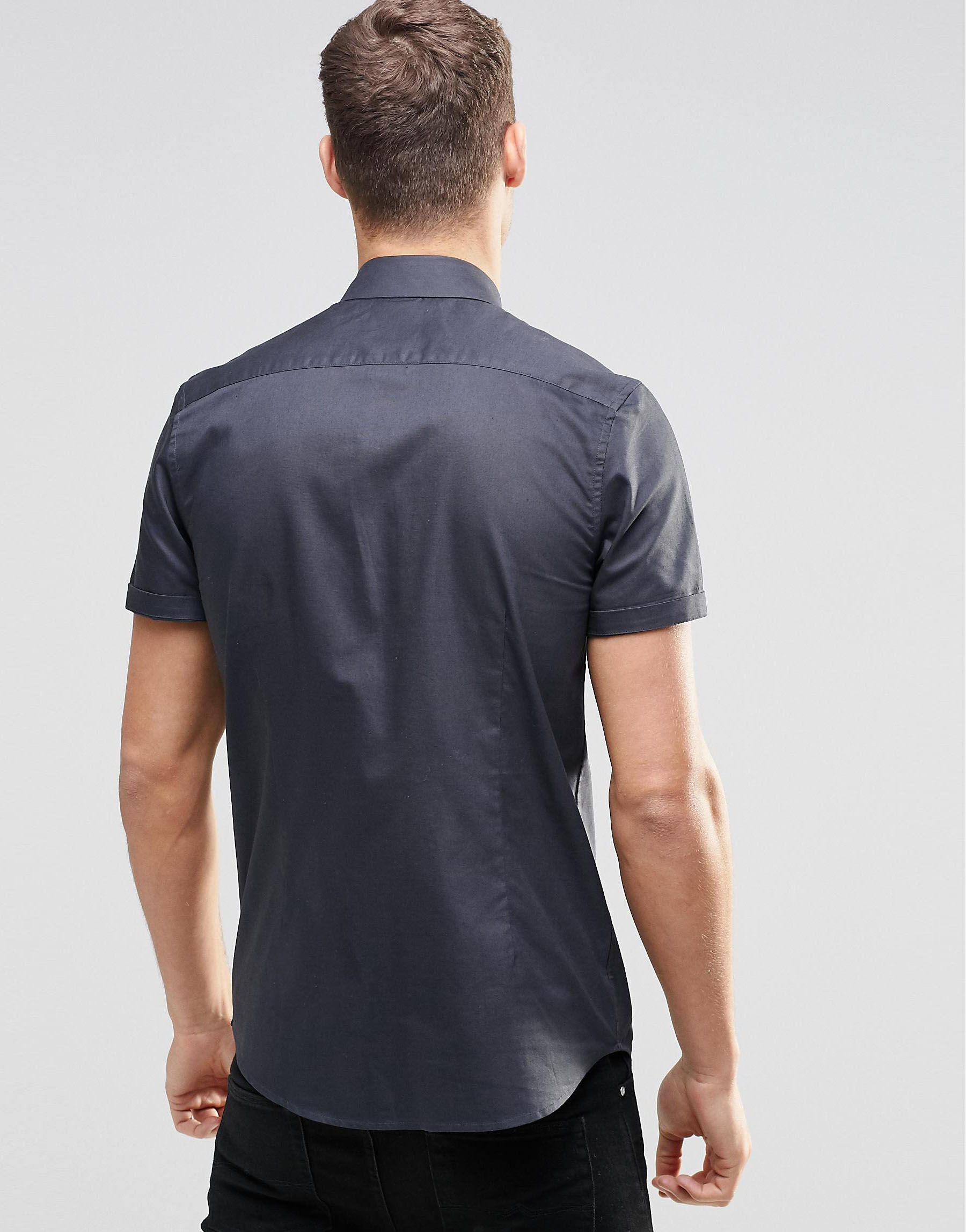 Lyst Asos Smart Oxford Shirt In Charcoal With Short