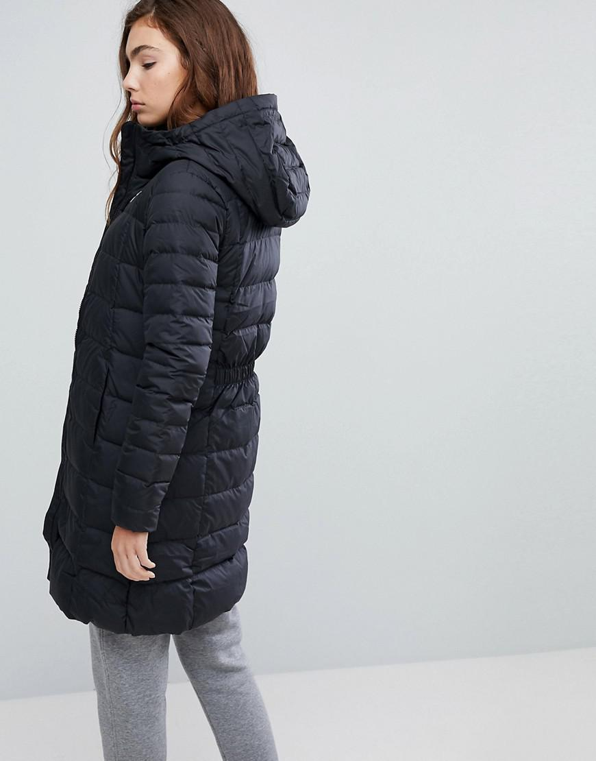 918330561eb5 Nike Down Filled Long Padded Parka Jacket in Black - Lyst