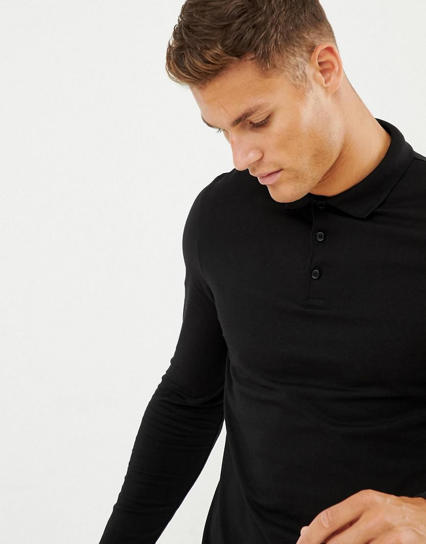649ba288 Lyst - Asos Design Long Sleeve Jersey Polo 2 Pack Save in Black for Men