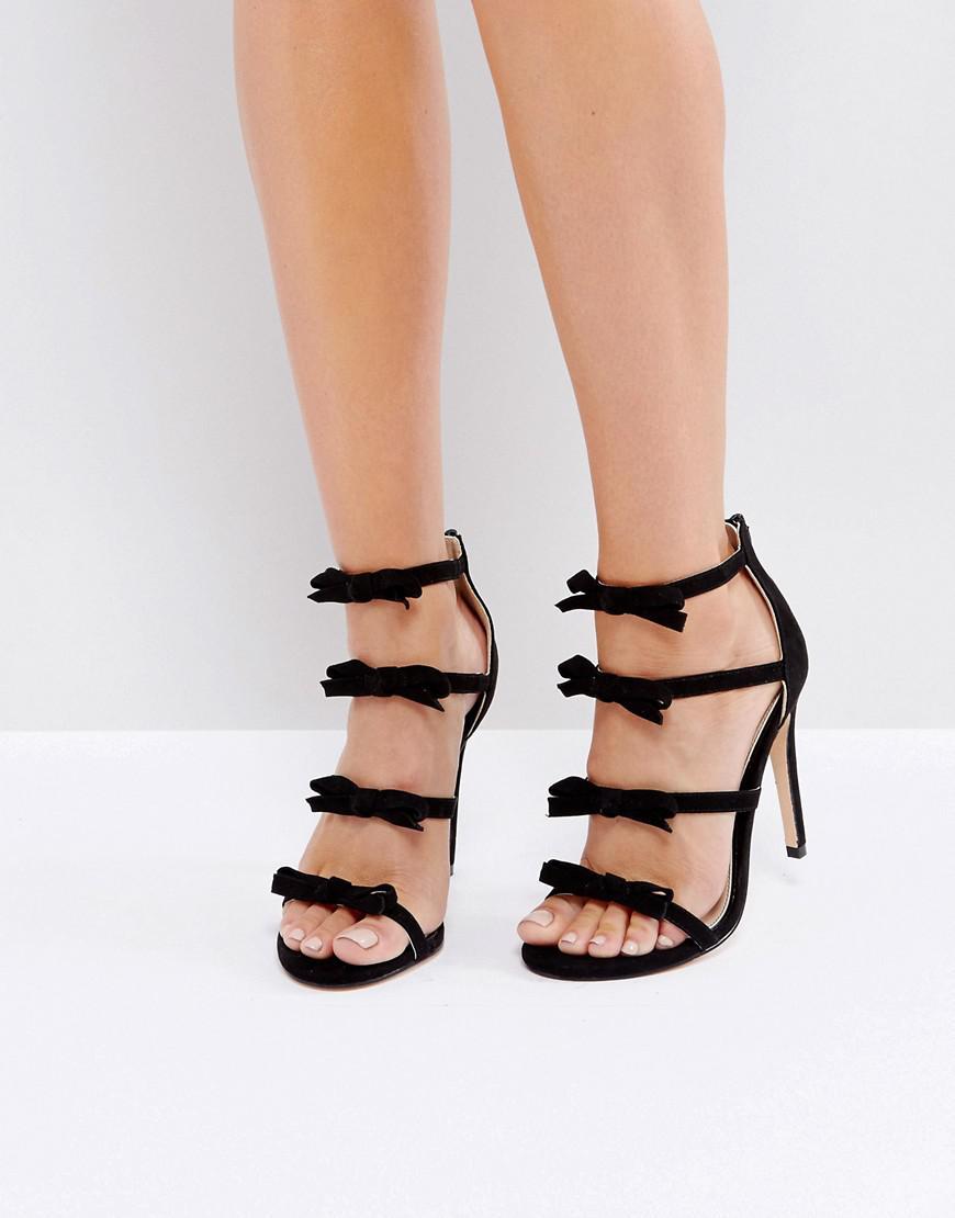 fd98e55089e Lyst - Miss Selfridge Multi Strap Bow Front Heeled Sandals in Black