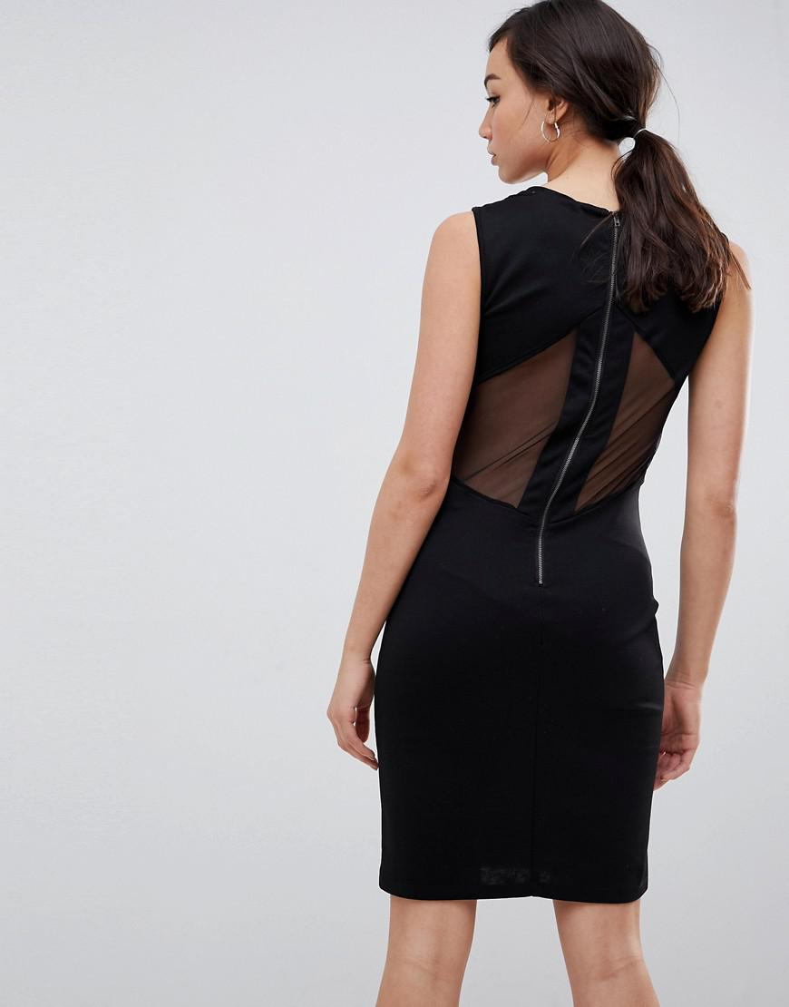 e5ffdccf287 Lyst - Y.A.S Yas Tall Velvet Bodycon Mini Dress With Mesh Panels in Black