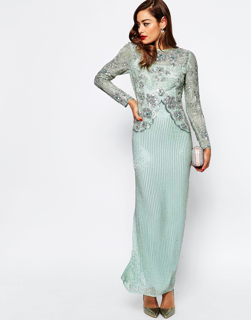 Lyst Asos Red Carpet Linear Long Sleeve Embellished Maxi