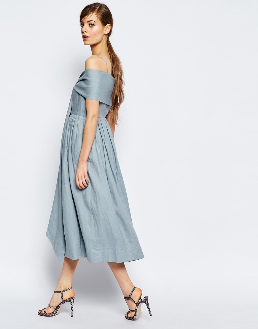 Lyst - Asos Linen Multiway Debuatante Midi Prom Dress in Blue