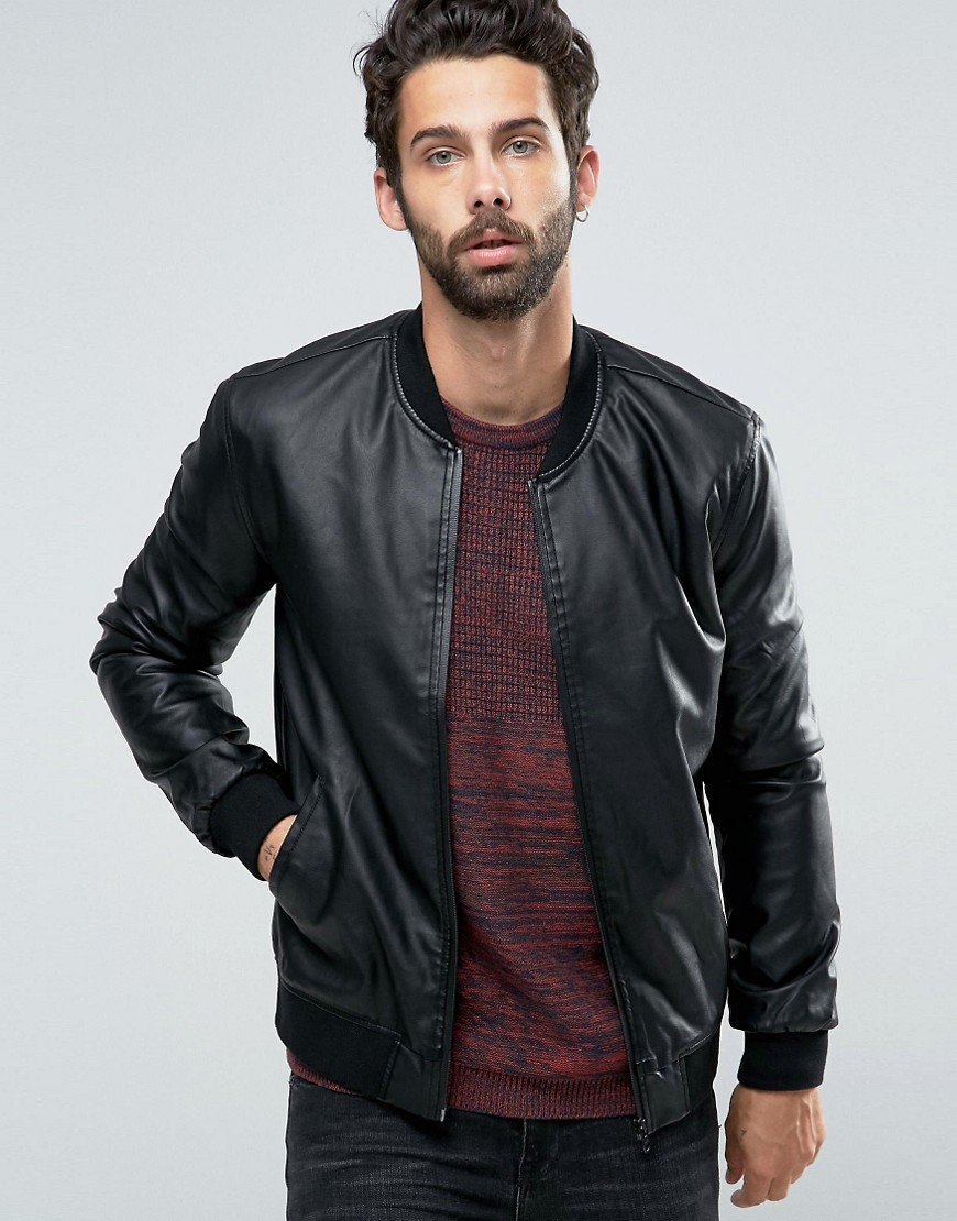 Lyst - Only & sons Faux Leather Bomber in Black for Men