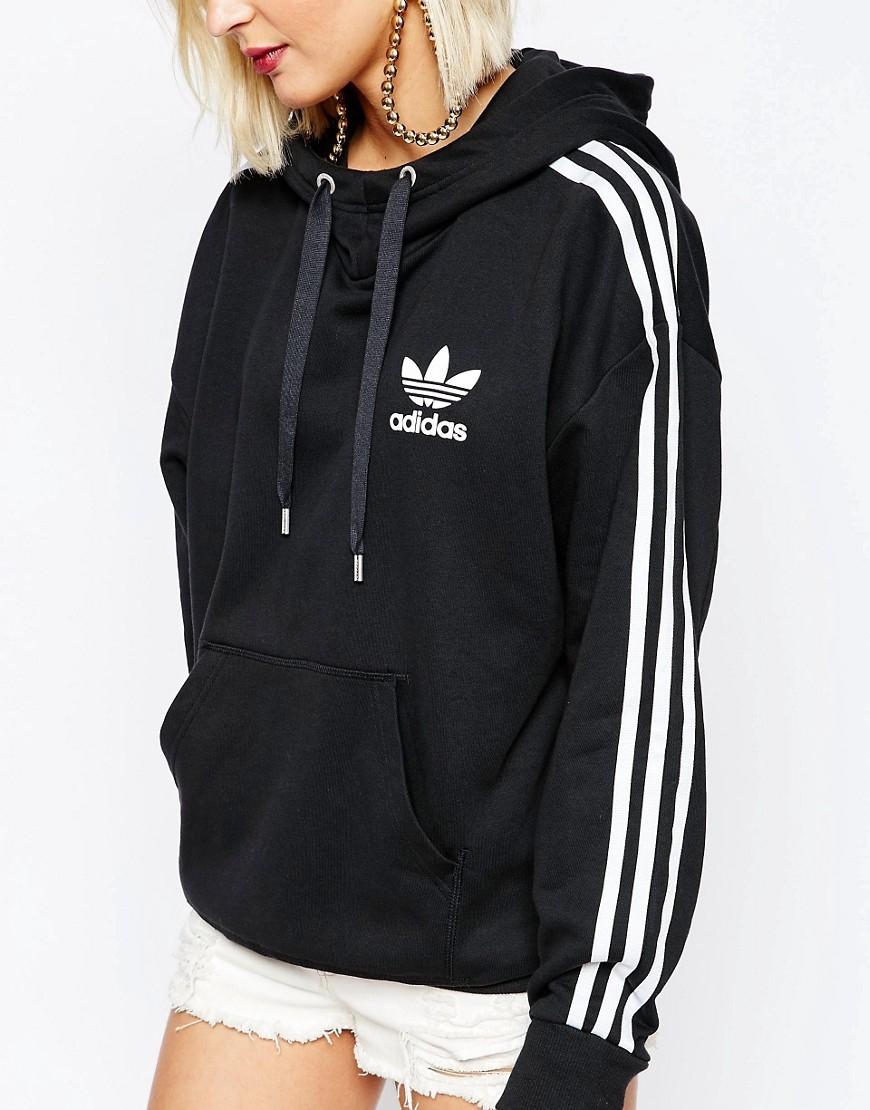 Lyst - Adidas originals Adicolour Crepe Hoodie in Black