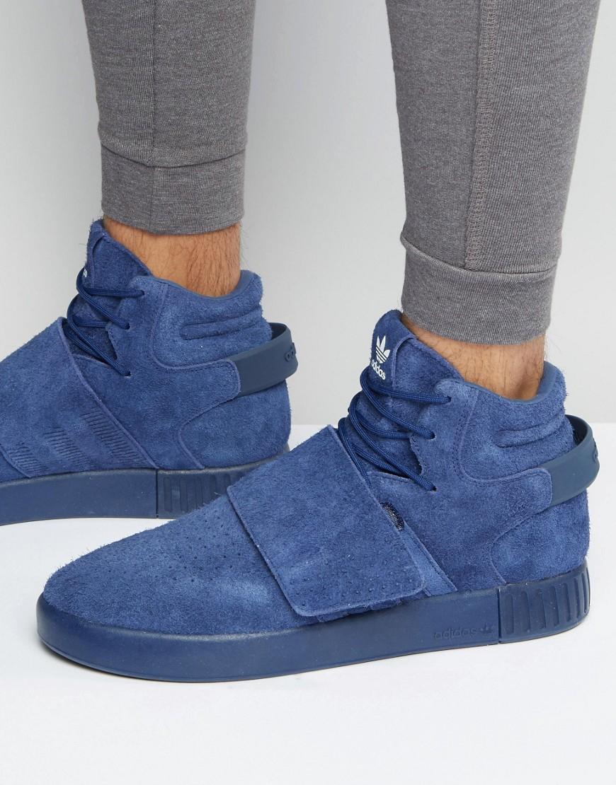 7d026283d2b1 Lyst - adidas Originals Tubular Invader Strap Sneakers In Blue ...