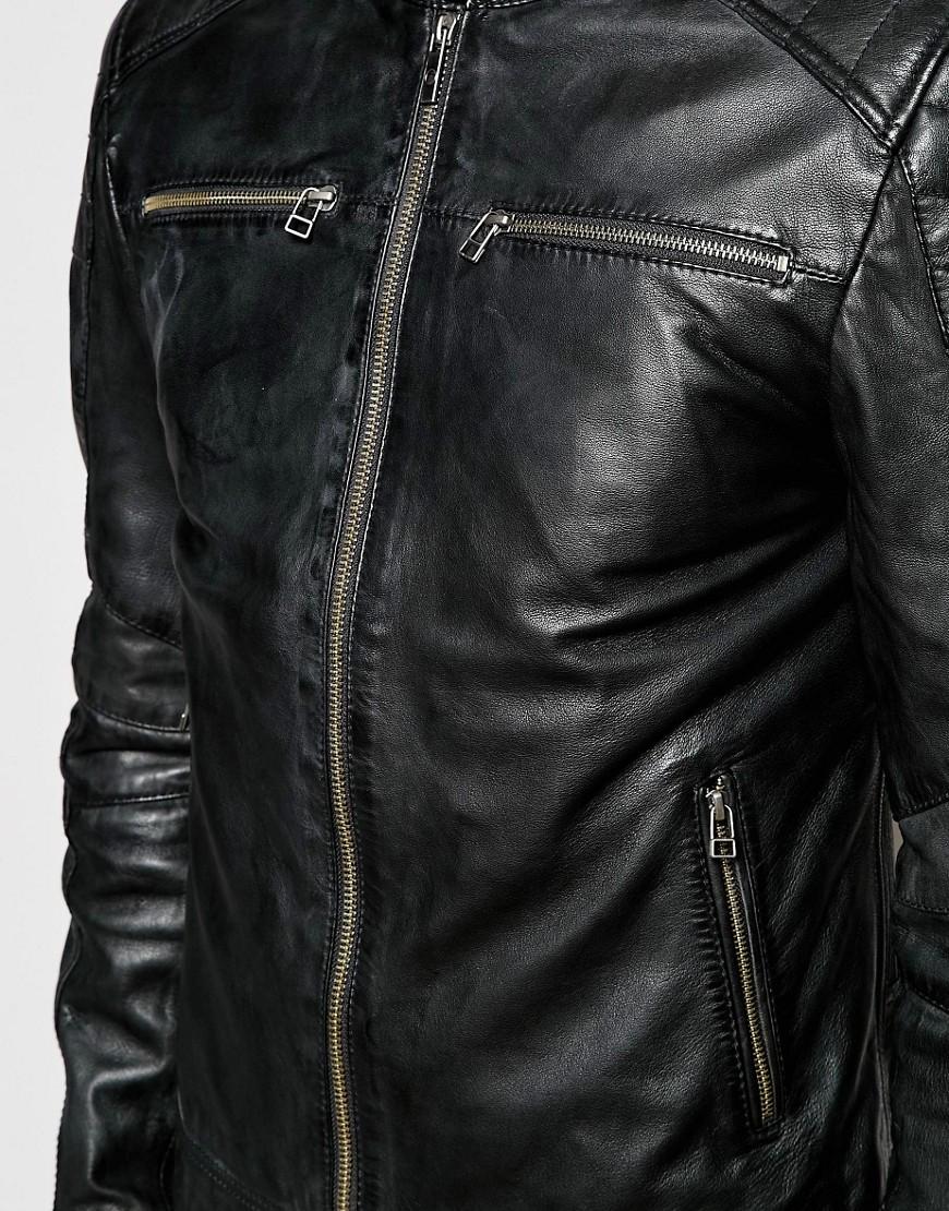 Lyst Goosecraft Leather Biker Jacket In Black In Black