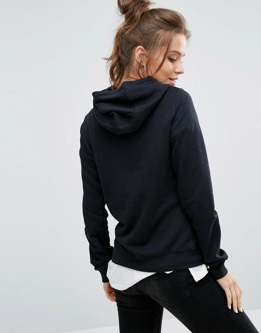 nike metallic swoosh pullover hoodie in black in black lyst. Black Bedroom Furniture Sets. Home Design Ideas