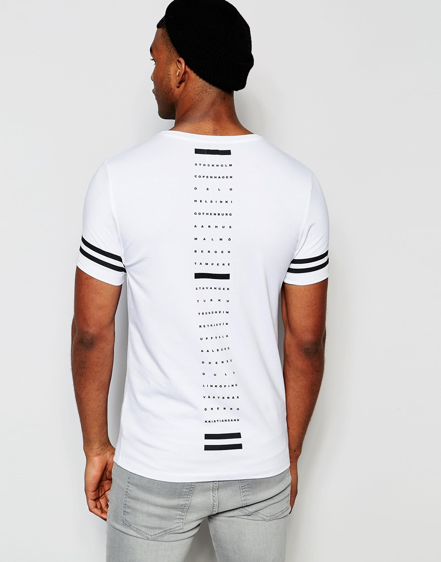 asos muscle t shirt with city list spine print and sleeve print in