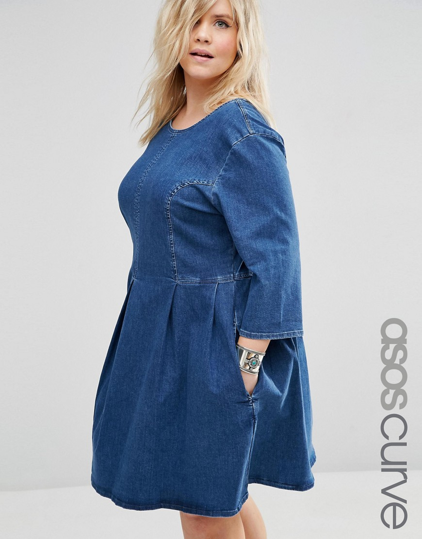 Asos Denim Skater Dress In Mid Blue Wash in Blue | Lyst