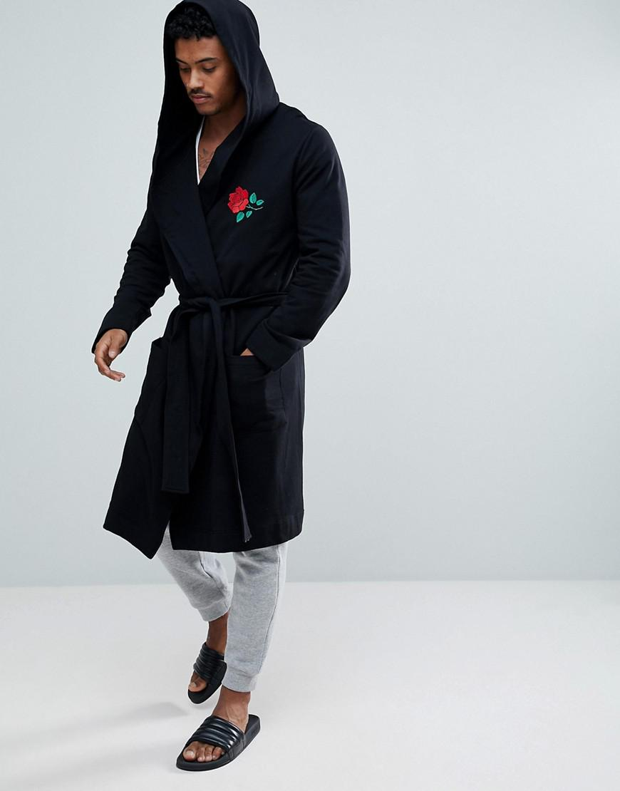 Asos Hooded Dressing Gown With Rose Embroidery in Black for Men - Lyst