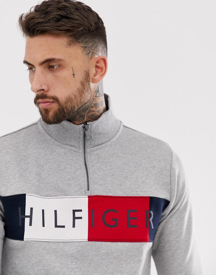 70940962 Tommy Hilfiger Half Zip Sweatshirt With Chest Panel Logo In Grey in ...