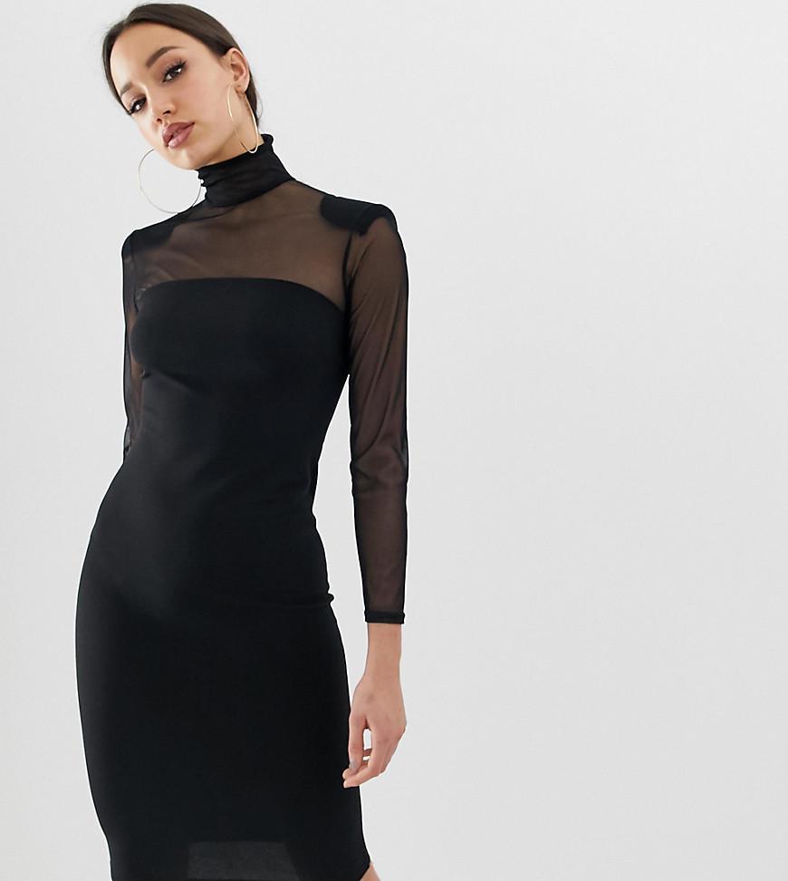 61150037b150 Lyst - John Zack Mesh Sleeve Bodycon Dress In Black in Black