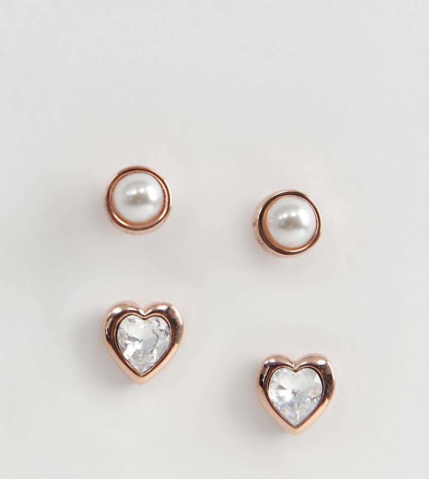 f98dfdab9 Ted Baker. Women's Metallic Rose Gold Pearl & Heart Crystal Stud Earrings  Gift Set