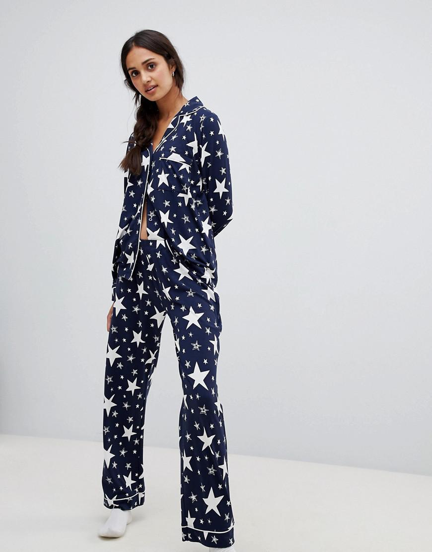 Lyst - Chelsea Peers Sparkle Star Print Pyjama Set in Blue b3647bad8