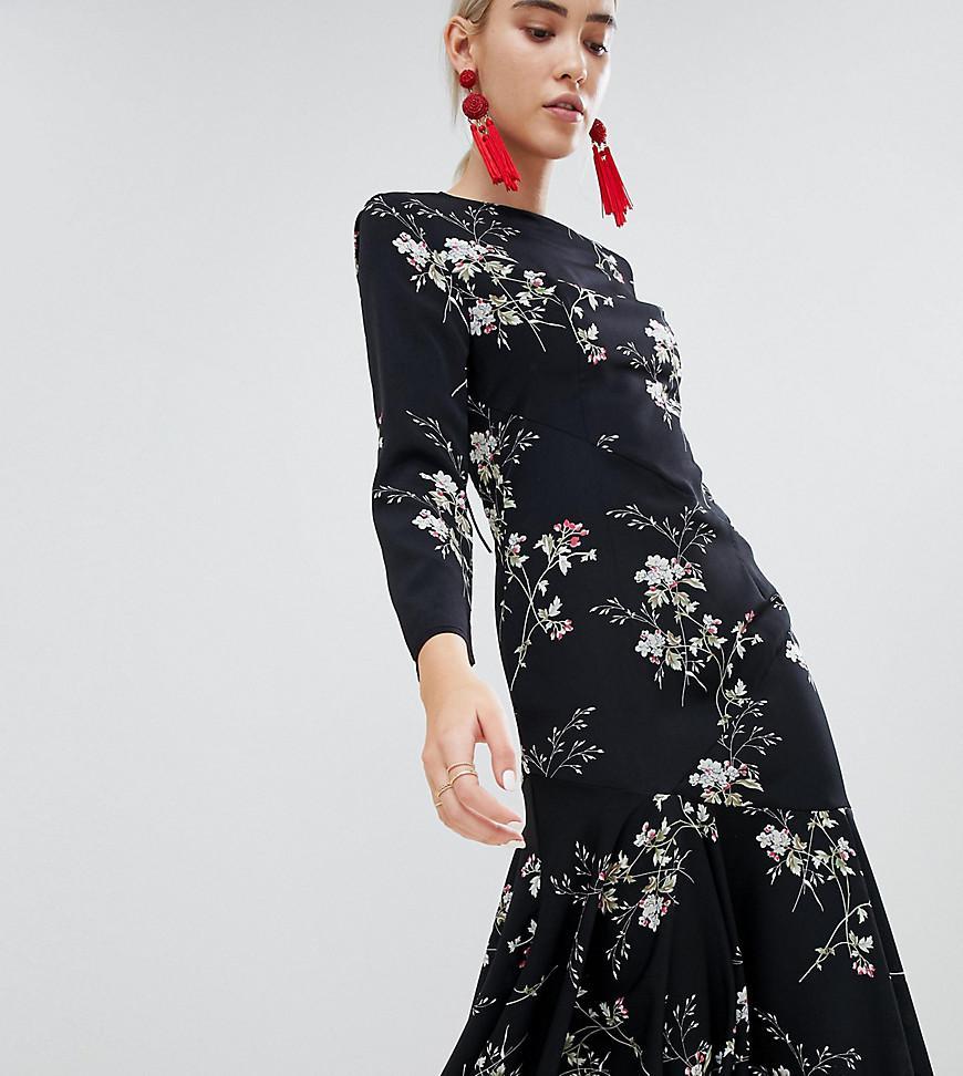 904a264aff2f Lyst - Boohoo Open Back Asymmetric Hem Midi Dress in Black