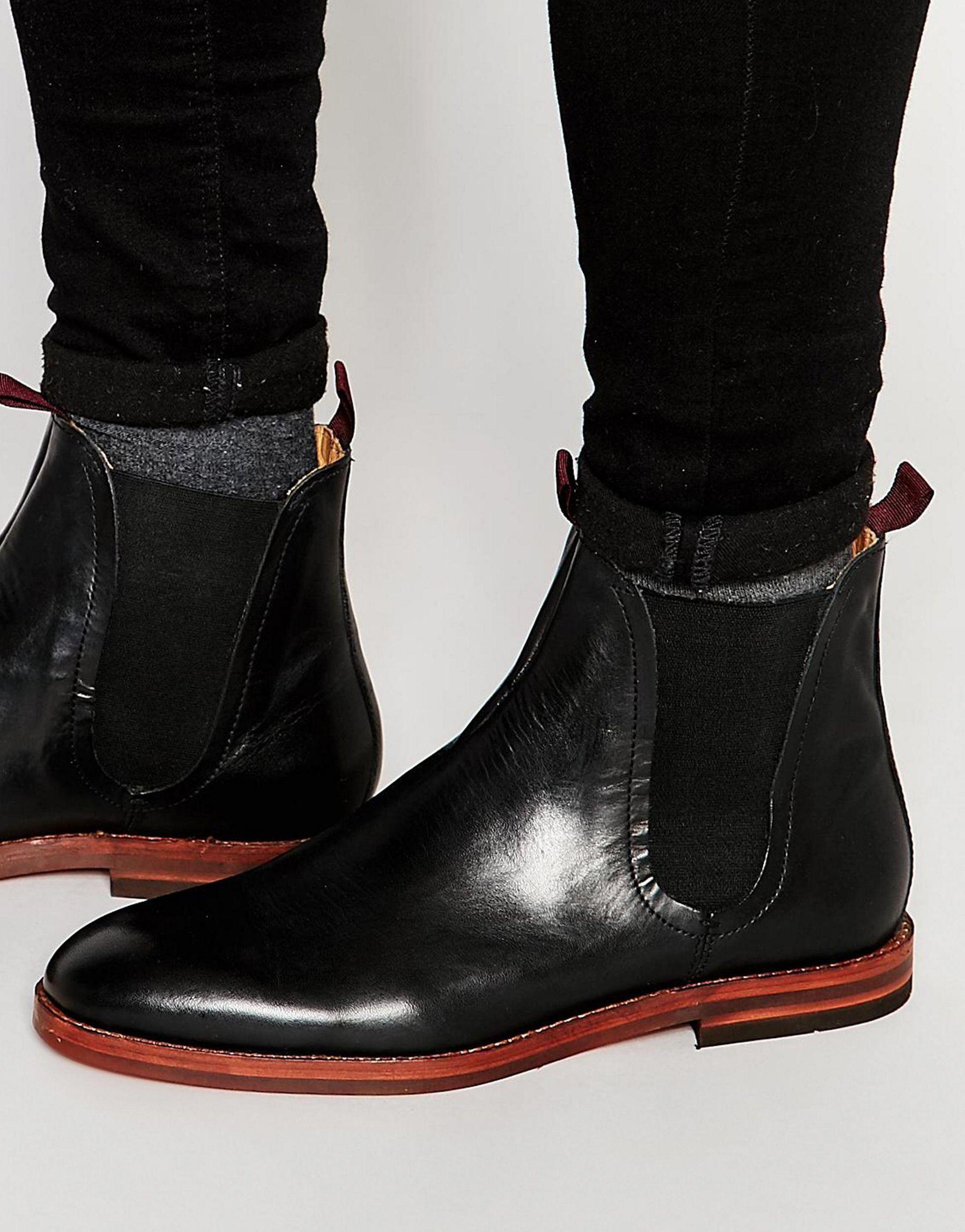 h by hudson tamper leather chelsea boots in black for men. Black Bedroom Furniture Sets. Home Design Ideas