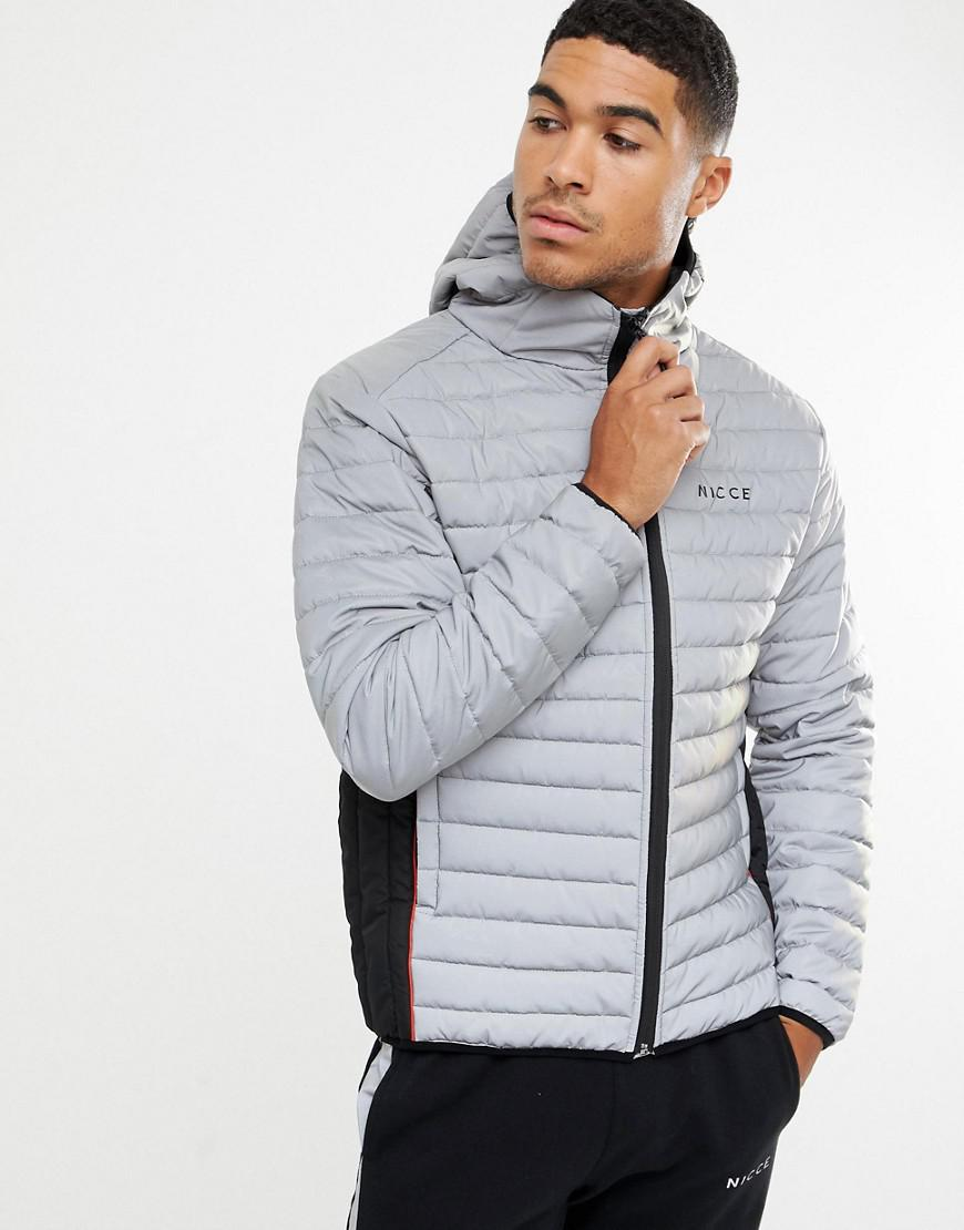 Nicce London Nicce Puffer Jacket In Reflective With Hood In Gray For