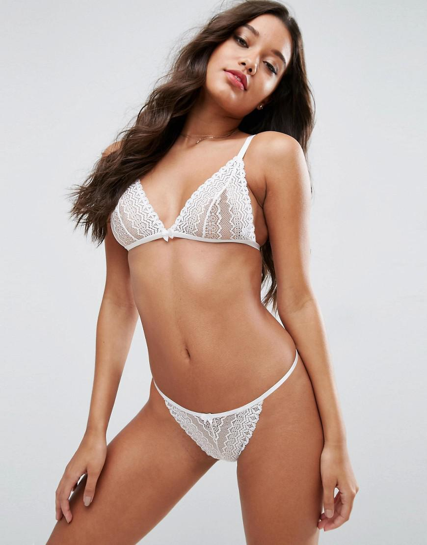 45b1557a77 Lyst - ASOS Viola Linear Lace Triangle Bra in White