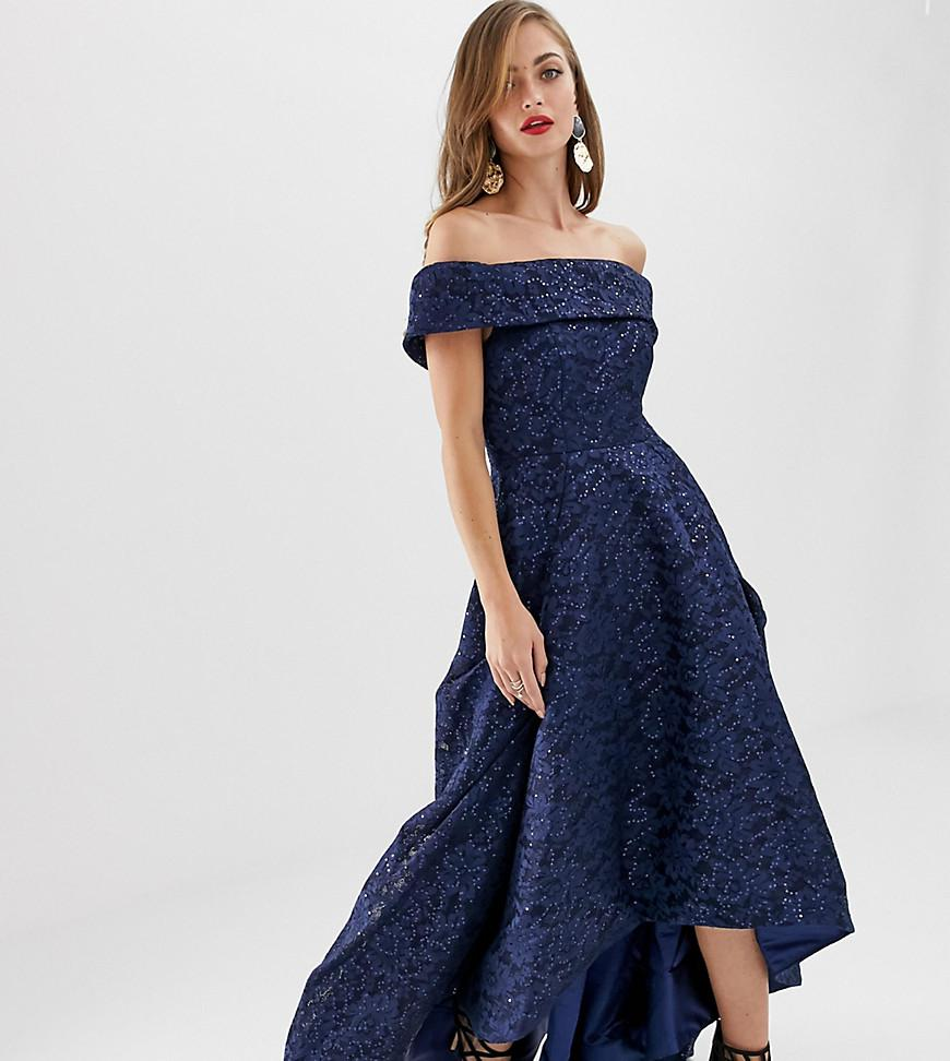 0442a96ee43 Bariano Off Shoulder Full Prom Dress With High Low Hem In Navy in ...