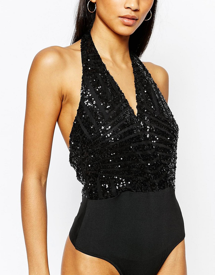 Club L Sequin Wrap Bodysuit Black In Black Lyst