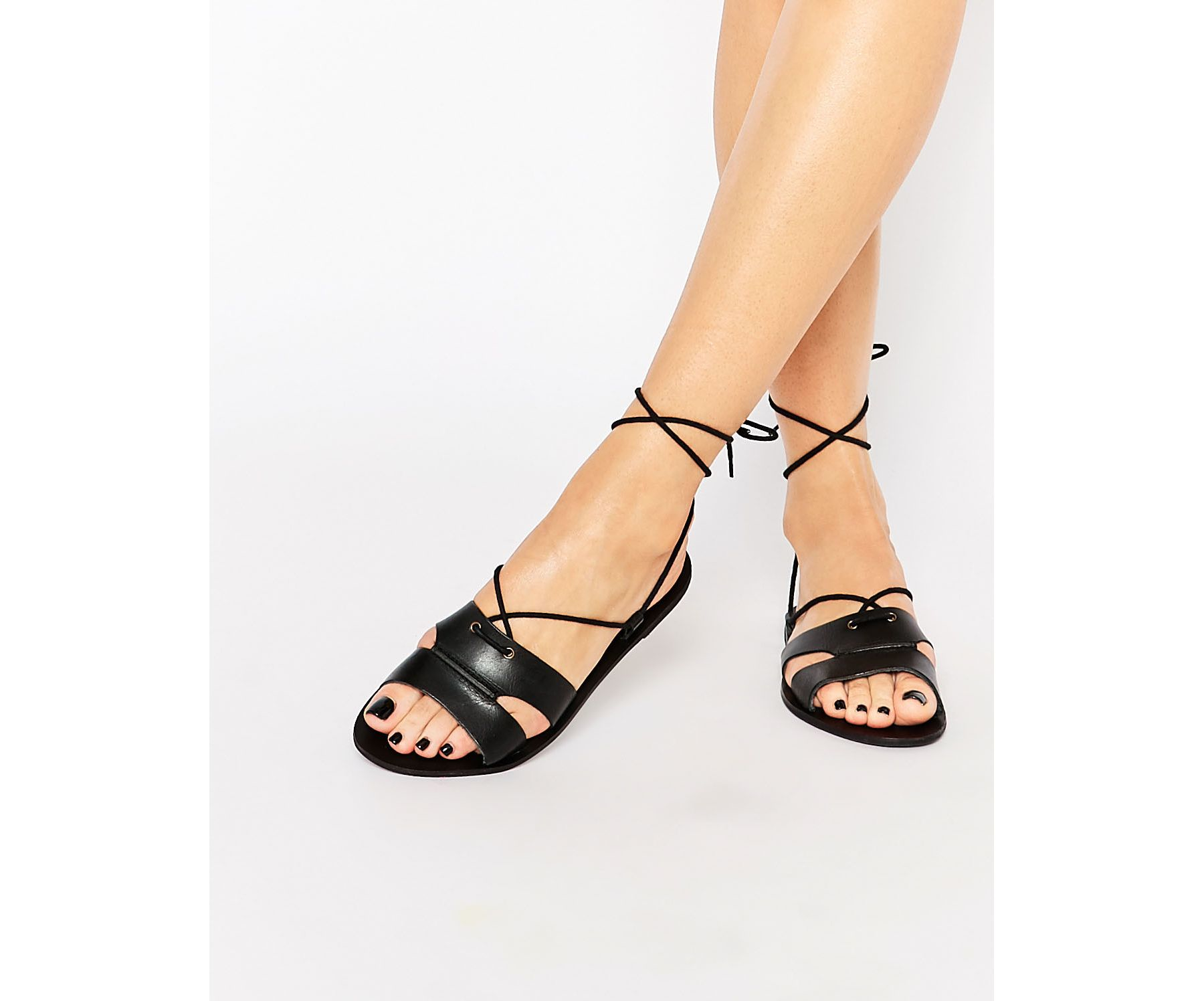 warehouse lace up flat sandal in black lyst. Black Bedroom Furniture Sets. Home Design Ideas