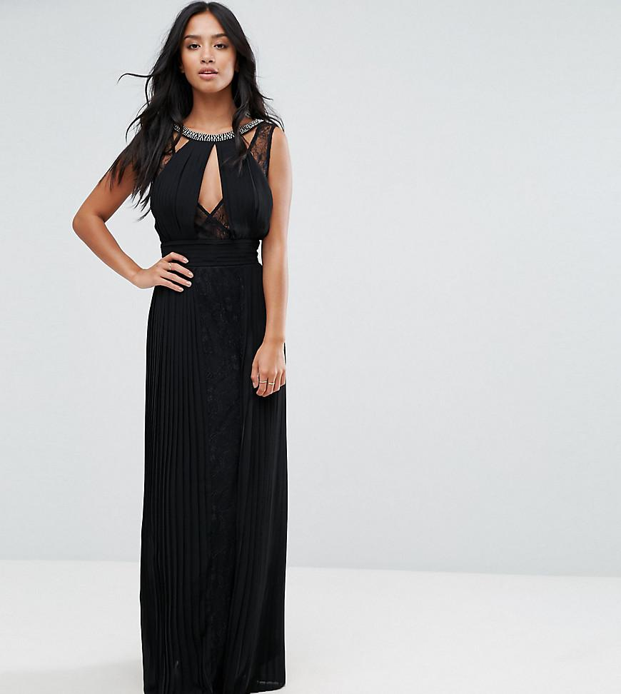 12ccf05d65 TFNC London. Women s Black High Neck Embellished Maxi Dress With Lace Insert