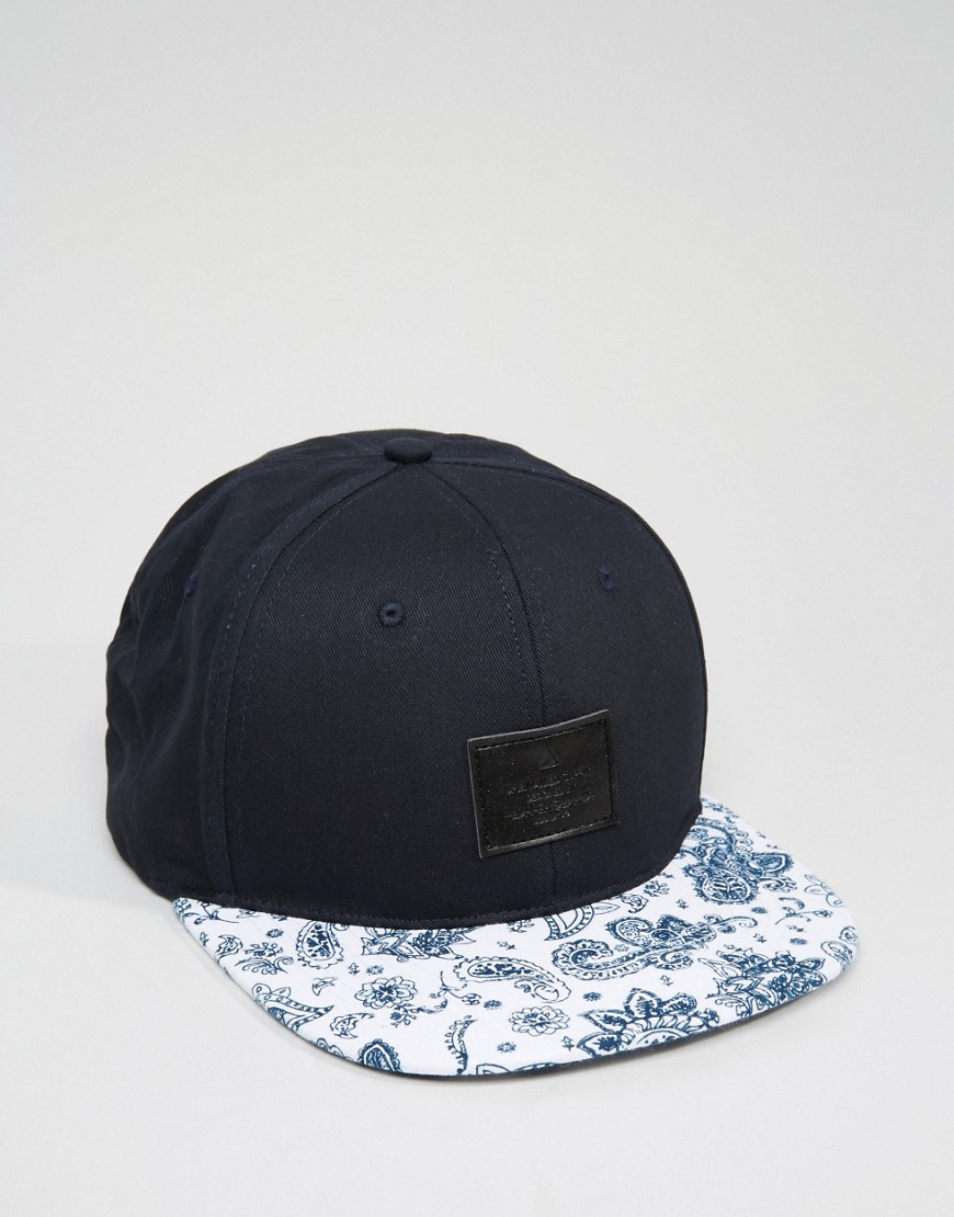 e43f7e77dbe8a Asos Snapback Cap With Paisley Peak in Blue for Men - Lyst