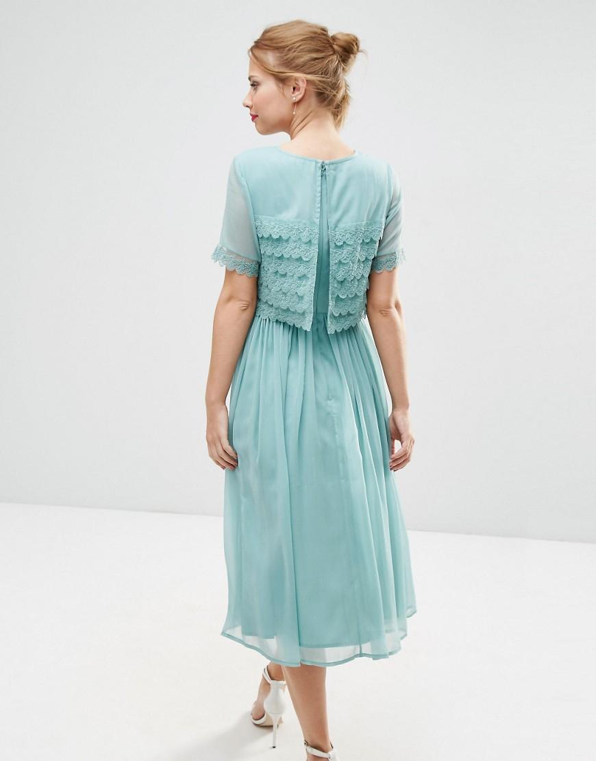 Lyst - Asos Salon Layer Lace Crop Top Midi Prom Dress in Blue