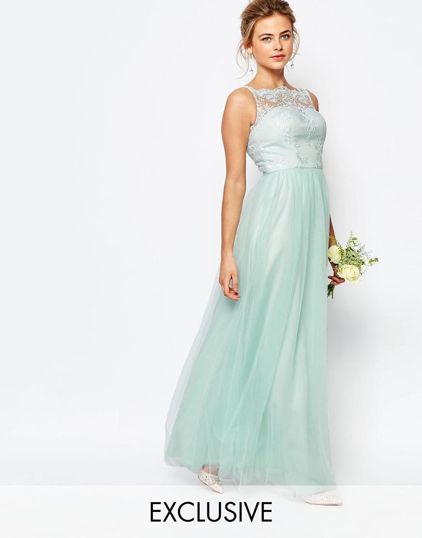 Lyst - Chi Chi London Bardot Neck Sleeveless Maxi Dress With Premium ...