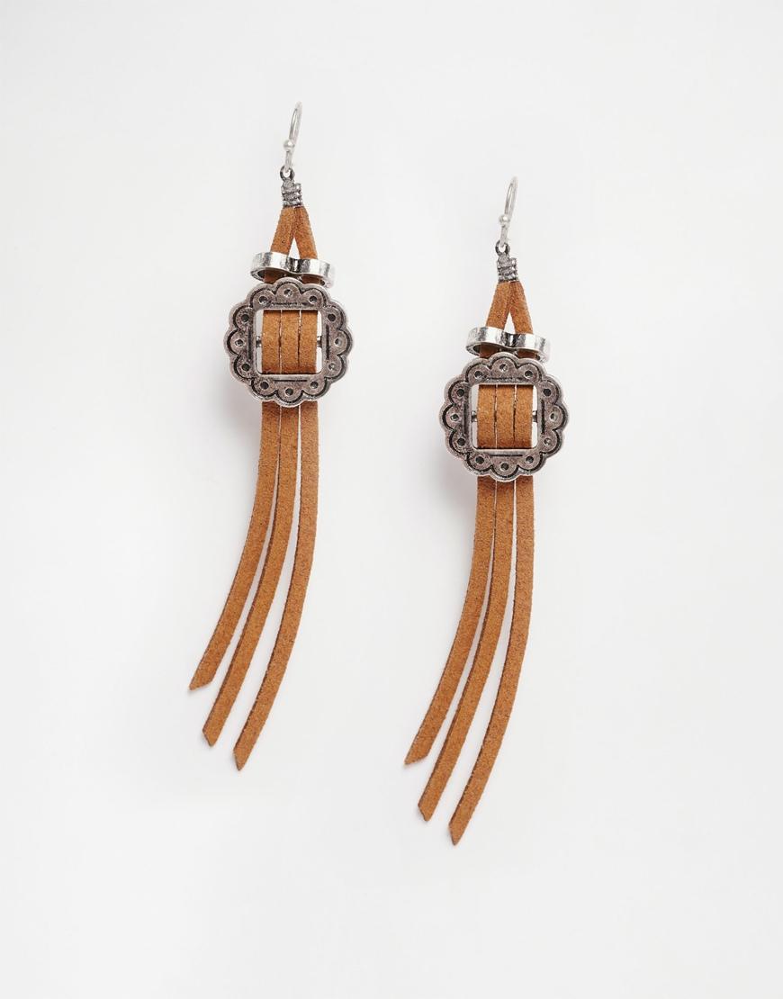 Asos Western Buckle Earrings in Metallic