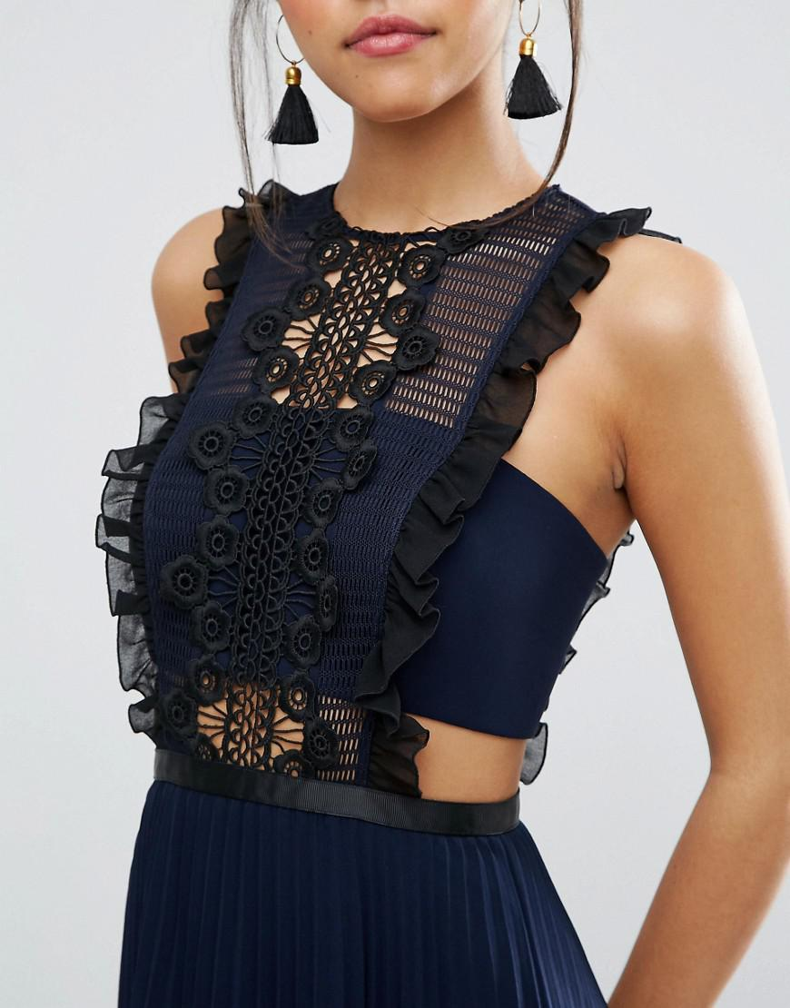the sale of shoes elegant and sturdy package fine craftsmanship ASOS Lace Pinafore Pleated Midi Dress in Blue - Lyst