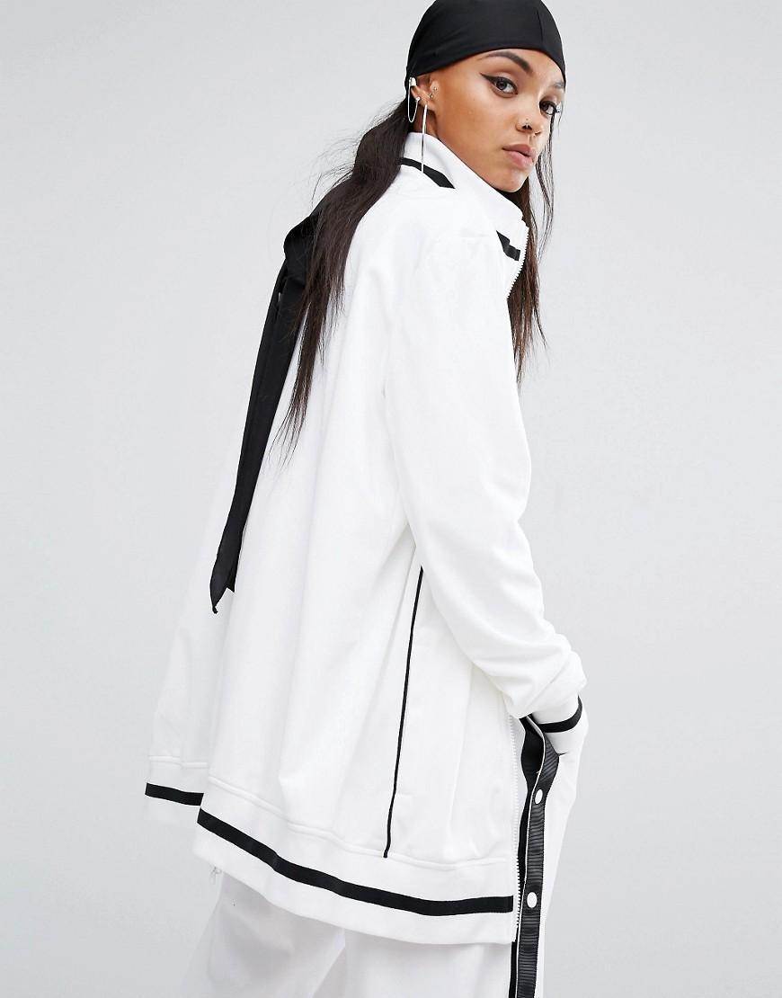 lyst puma fenty x by rihanna longline bomber jacket in white. Black Bedroom Furniture Sets. Home Design Ideas