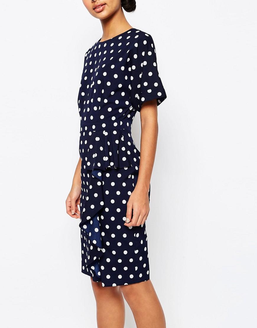 Asos spot waterfall pencil dress in blue lyst for Waterfall design dress