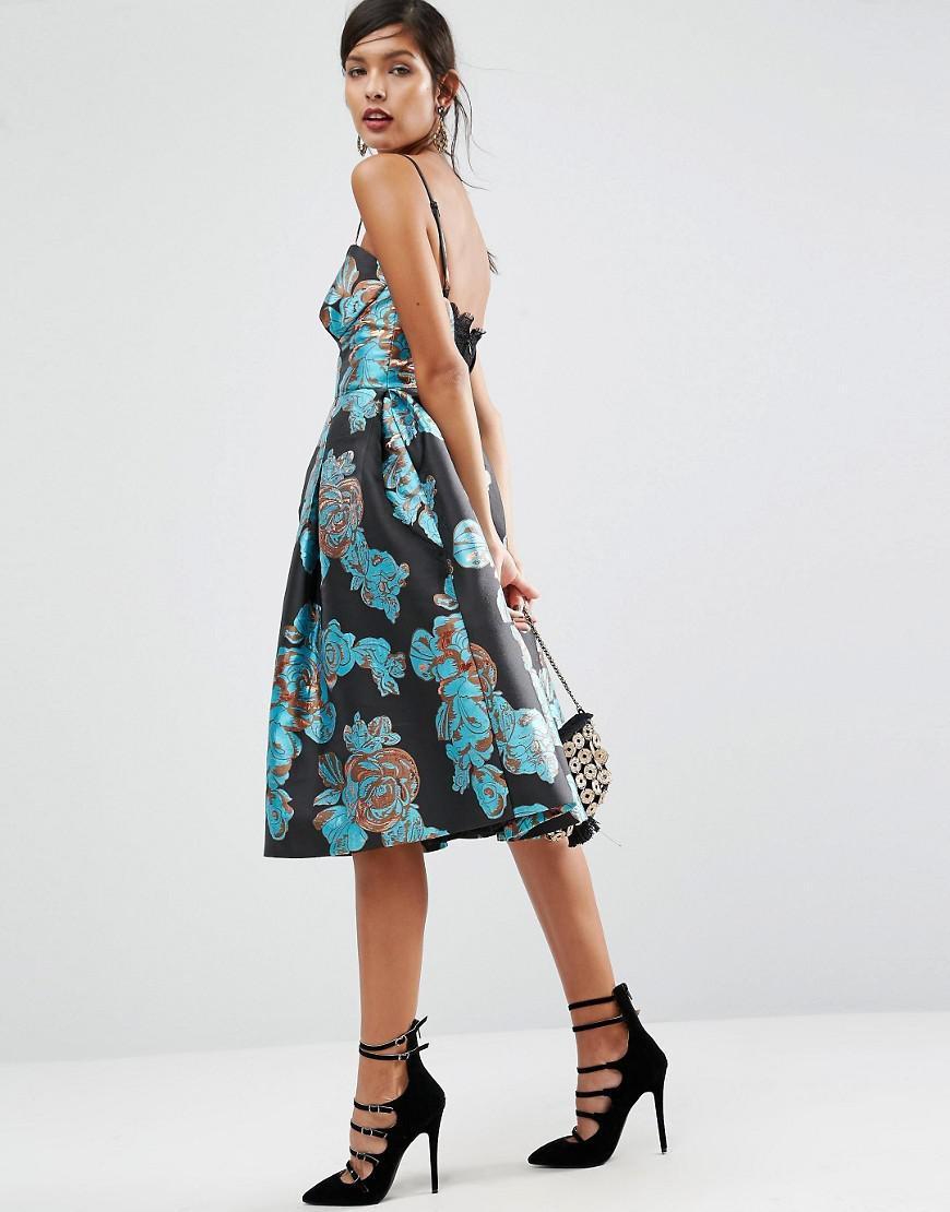 Lyst Asos Salon Metallic Flower Jacquard Prom Midi Dress
